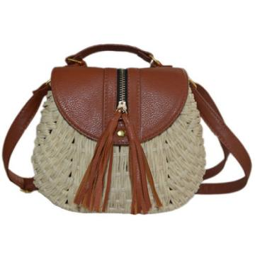 Women Summer Beach Straw Weave Shoulder Handbag Messenger Cross Body Tote Bag