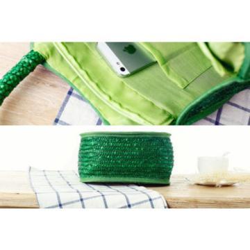 Women Straw Weave Green Frog Tote Purse Handmade Clutch Beach Bag Handbag New