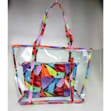 Floral Print Woman Handbag Jelly Clear Transparent Beach Shoulder Bag Tote Purse