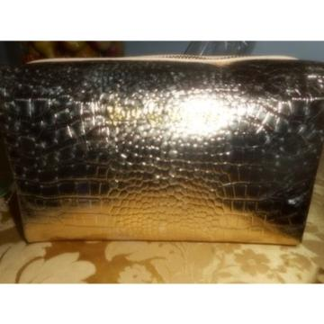 LILLY PULITZER GOLD METALLIC  Large Palm Beach Travel Cosmetic Bag NWT