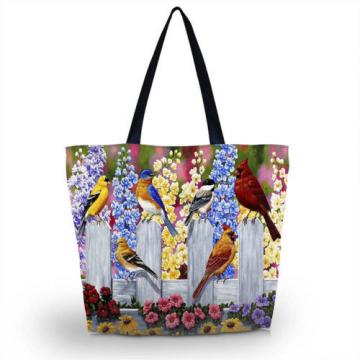 Birds Women Beach Tote Shoulder Bag Purse Handbag Travel School Folding Bag C0