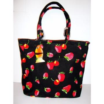 Beautiful GOLDEN SANDS Strawberry Cherry Canvas Beach Tote Shopping Bag Black
