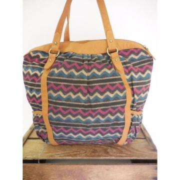 O'NEILL Southwest Chevron Print Cloth Large Boho Beach Tote Bag Shoulder Purse