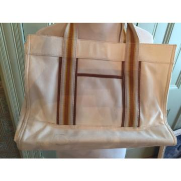 TORY BURCH Cream Canvas & Beige Leather Beach Tote Bag Shoulder Bag