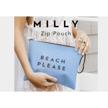 "MILLY Zip Pouch Clutch Bag Blue ""Beach Please""  - FabFitFun (NWT)"