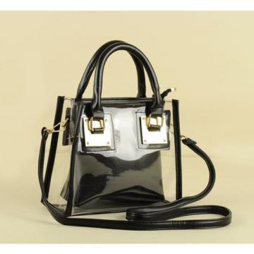 2pieces Transparent Messenger Wallet Women Jelly Beach Bag Shoulder Hobo Handbag