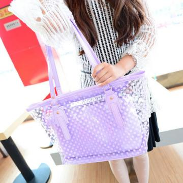 Women Sweet Jelly Clear Transparent Handbag Tote Plastic Dot Beach Shoulder Bags