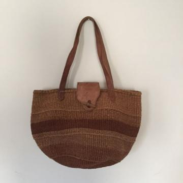 Woven Sisal Jute Leather Handle Flap Women Boho Hippie Tote Beach Summer Bag