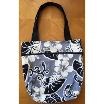 "Reversible Purple/Gray Hawaiian Print Tote Beach Bag 15""x16"""