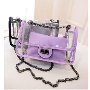 Womens Transparent Shoulder Bag Plastic Jelly Chain Hangbag Summer Beach Purse