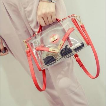 2PCS Women Girl PVC Clear Transparent Handbag Shoulder Bag Jelly Candy Beach Bag