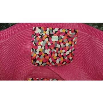 Vera Bradley Pixie Confetti Straw Beach Tote Shoulder Bag Large Purse Pink Palm