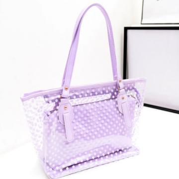 Fashion Clear Shoulder Bags Transparent Tote Beach bag Womens Dot Handbag New