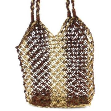 Vintage 60's Woven Basket Beach Tote Bag Purse
