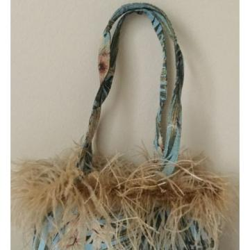 Womens NWOT Floral Tapestry Feather Trim Beach Travel Handbag Bag Purse Tote