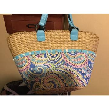 Vera Bradley Summer Straw And Cloth Bag Beach Bag Carryall