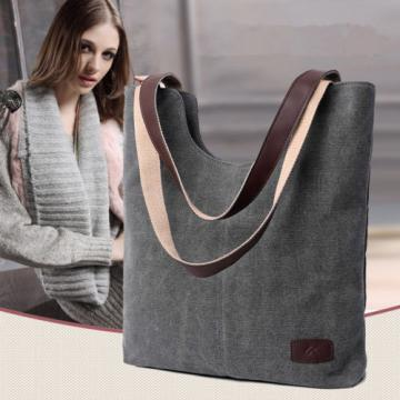 Canvas Handbag Women Casual Tote Shoulder Bags Solid Bucket Crossbody Beach Bags