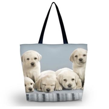 Dogs Women Shopping Bag Shoulder Tote Handbag Folding Reusable Eco Bag Beach bag