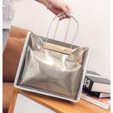 Women Jelly Handbag Clear Beach Purse Shoulder Bag Satchel Bucket Bag