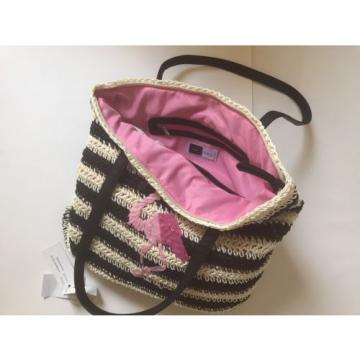 NWT LILAC +BLACK FLAMINGO BLACK/STRAW STRIPED PURSE/TOTE/BEACH BAG