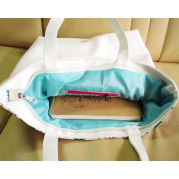 Lovely Girl Print Canvas zipper Closure Shopper Tote hobo beach Bag colorful 505