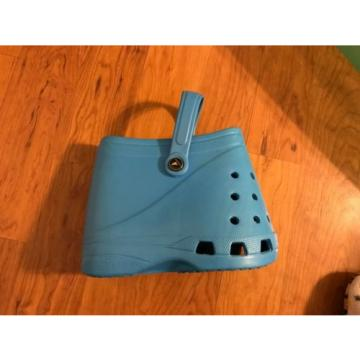 LUBBER Blue SPRING Summer Tote Beach Hand Bag Purse Crocs Shoes Footprint