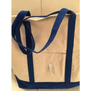 LARGE zippered CANVAS beach cotton natural tote bag pocket DARK BLUE trim NEW