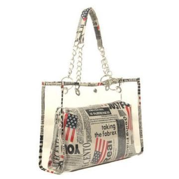 Women Clear Transparent Shoulder Bags Jelly Candy Beach Handbag Purse Stripe Bag
