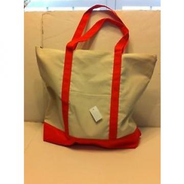 LARGE zippered CANVAS beach cotton natural tote bag pocket ORANGE trim NEW