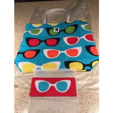 Estee Lauder Lisa Perry SUNGLASSES Tote Shoulder Beach Bag & Sunglasses Pouch