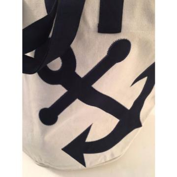 extra LARGE anchor CANVAS beach cotton BOAT tote bag EMBROIDERED sailing NEW