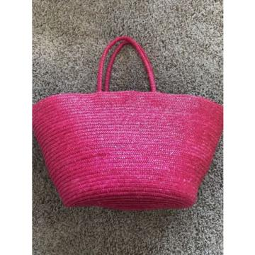 Pink Natural Straw Large Summer Beach Shopper Tote Bag Vacation Bag