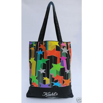 Kiehl's Black Printed Canvas Tote Bag,Shopping,Working,Travel,Beach,Utility Tote