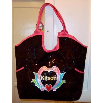 KITSON Los-Angeles Black amp Pink Tote Shopper Beach Bag NWT LA NR