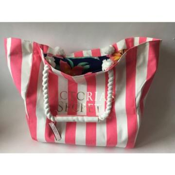 New Victoria's Secret Pink Stripe Canvas Tote Beach Travel Bag Tropical Floral