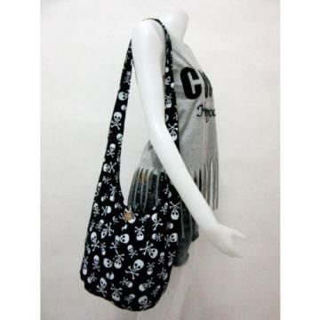 0790 BEACH BAG SLING SHOULDER ADVENTURE SKULL YOGA MEN HOBO BOHO GHOST BLACK NEW
