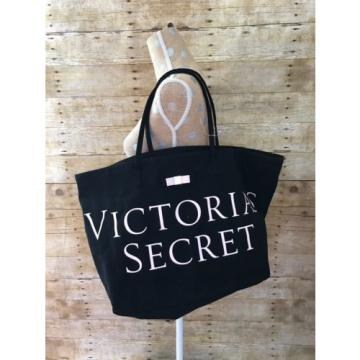 Victorias Secret Black & Pink Bow Tote Bag Shopping Beach Weekend Large Bag