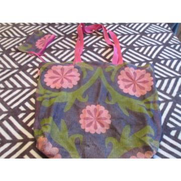OLD NAVY Tote Beach Bag Flowers w/removable matching wallet MESH LIKE *flaw hole