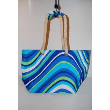 Rope Handle Beach Bag Canvas Striped Handbag Shopper Tote Shopping Travel Bag