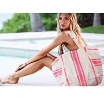 Victoria's Secret Canvas Tote Bag Sun & Fun Swim Beach Shopper Pink Striped NIB