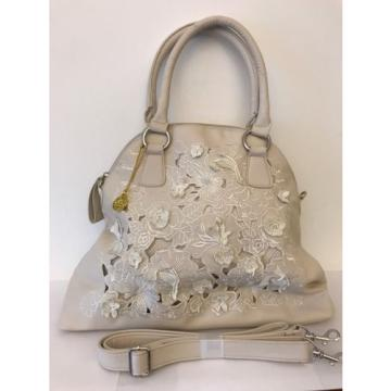 "Perfect for the Beach!! BIG BUDDHA ""CREAM"" APPLIQUED SATCHEL/SHOULDER BAG - NWOT"