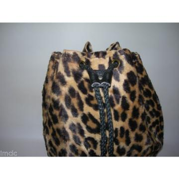 1960's~Retro~Vintage LEOPARD Bucket Handbag~Beach Bag~Purse Tote~mini Duffle Bag