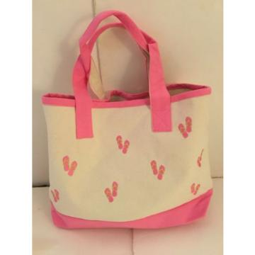 PINK FLIP FLOPS CANVAS beach cotton natural tote bag EMBROIDERED COTTON NEW