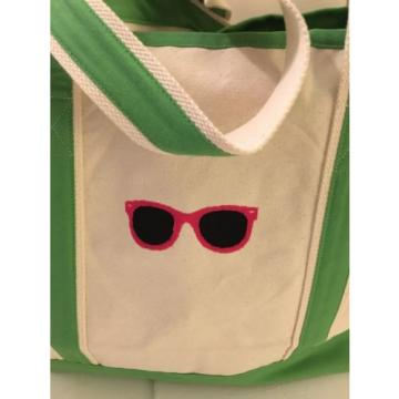 LARGE SUNGLASSES CANVAS beach cotton natural tote bag EMBROIDERED GREEN ZIP NEW
