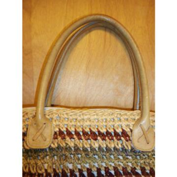 VINTAGE ETHNIC WOVEN STRAW SISAL JUTE LEATHER HANDLES BOHO TOTE BEACH BAG