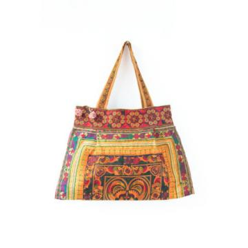 Ethnic Handmade Beach Tote Bag Thai Hmong Embroidered Bird Pattern in Orange