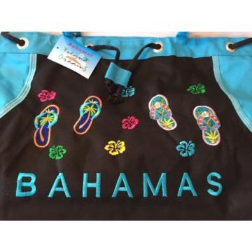 Bahamas Blue & Black FlipFlop Canvas Beach Towel Pool Tote Bag NWT