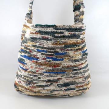 Vtg Recycled Plastic Bags Crochet Large Shopper Tote Beach Bag Purse
