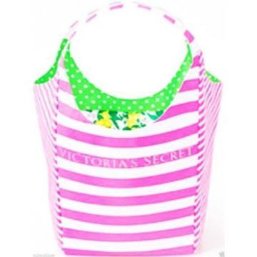 NWT New Victoria's Secret Summer Beach Pink White Stripes Reversible Tote Bag