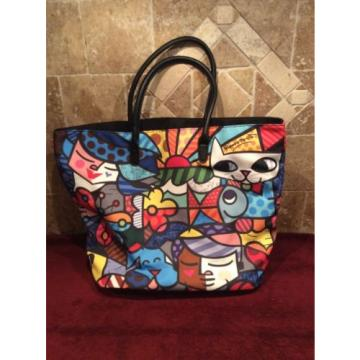 ROMERO BRITTO Tote Purse Shopper Beach Bag Cat Dog Fish Butterfly Flower NWOT